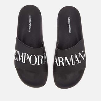 7ca7639374c5e1 Emporio Armani Men s Zadar Slide Sandals - Black White
