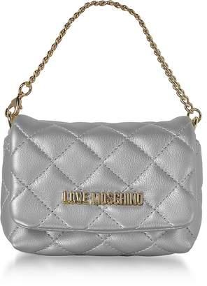 Love Moschino Mini Bag Silver Eco-Leather Clutch