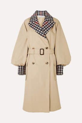 J.W.Anderson Belted Checked Wool-blend And Cotton-gabardine Trench Coat - Beige