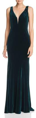 Aqua Velvet Column Gown - 100% Exclusive