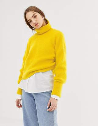Weekday roll neck knitted jumper in yellow