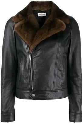 Saint Laurent fur-trim biker jacket