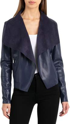 Bagatelle Drape Faux Leather & Faux Suede Jacket