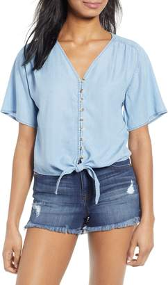 Love, Fire Button Front Chambray Top