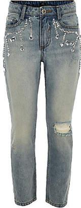 River Island Girls Blue Bella embellished denim jeans