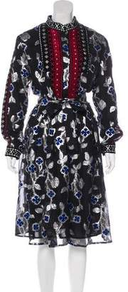 Dodo Bar Or Long Sleeve Brocade Knee-Length Dress