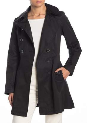 Via Spiga Double Breasted Water Repellent Fit & Flare Trench Coat