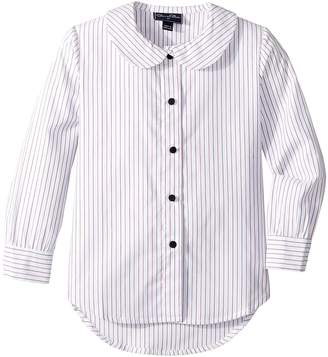 Oscar de la Renta Childrenswear Button Up Bottom Bow Long Sleeve Blouse Girl's Blouse