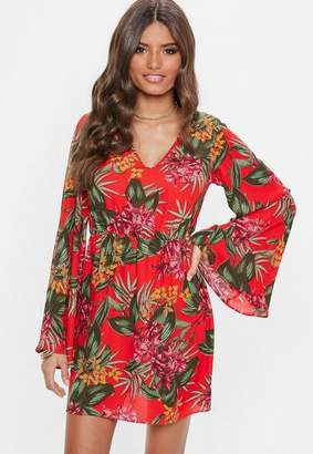 Missguided Red Plunge Kimono Sleeve Floral Print Dress