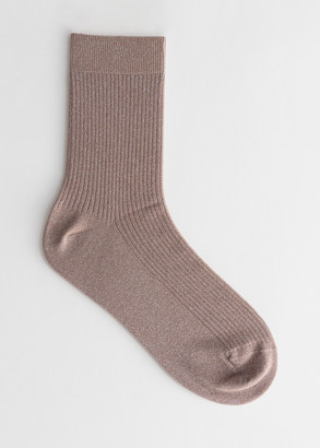 And other stories Glitter Rib Knit Ankle Socks