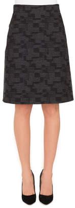 Akris A-Line Check Cashmere Fleece Knee-Length Skirt