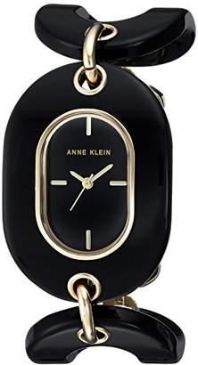 Anne Klein Women's AK/2674BKGB Gold-Tone and Black Open Link Bracelet Watch