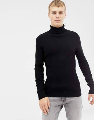 Brave Soul Muscle Fit Roll Neck Stretch Rib Sweater
