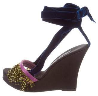 Alberta Ferretti Feather-Trimmed Platform Wedges