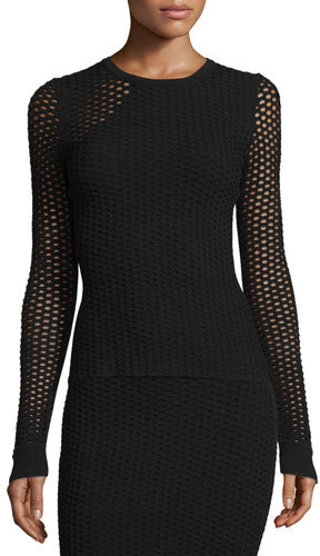 Opening CeremonyOpening Ceremony Long-Sleeve Netted Mesh Top, Black