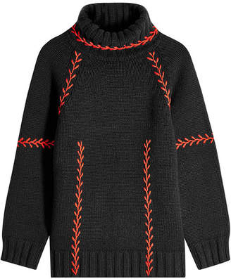 Alexander McQueen Feather Stitch Embroidered Oversized Cashmere Pullover