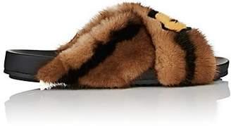 Fendi Women's Mismatched-Print Fur Slide Sandals - Black