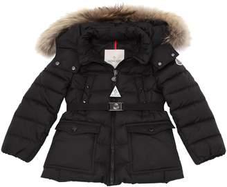 Moncler Genet Nylon W/ Fur Down Coat