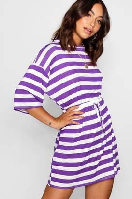 boohoo Bold Stripe Tie Waist Jersey Tee Dress