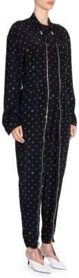 Stella McCartney Alma Silk Ditsy Print Zipper-Front Jumpsuit
