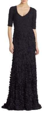 Theia Petal Elbow-Sleeve Gown