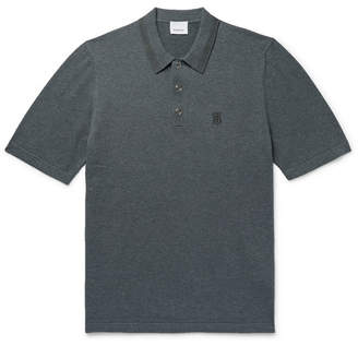 Burberry Contrast-Tipped Melange Cotton Polo Shirt - Men - Charcoal