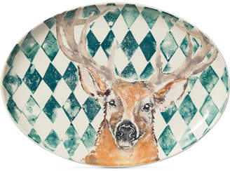 Vietri Into the Woods Collection Deer Large Oval Platter