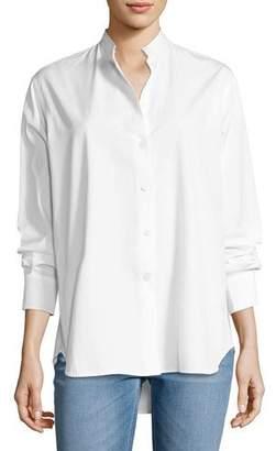 Victoria Beckham Granddad Band-Collar Shirt, White