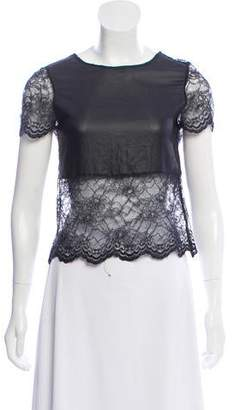 Gryphon Lace Accent Short Sleeve Top