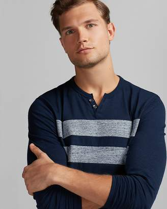 Express Pieced Stripe Notch Neck Henley