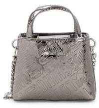 Love Moschino Logo Embossed Metallic Satchel