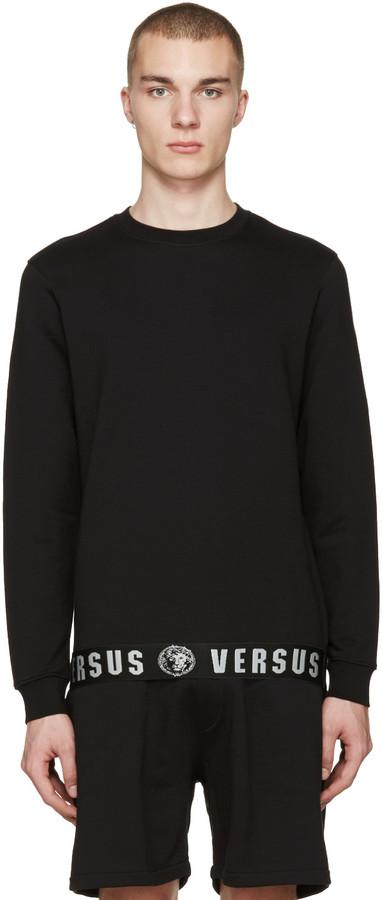 Versus Black Logo Hem Pullover