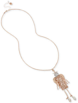 "Betsey Johnson Rose Gold-Tone Crystal Mesh Angel Pendant Necklace, 28"" + 3"" extender"