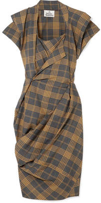 Vivienne Westwood Grand Fond Draped Tartan Wool Dress - Gray