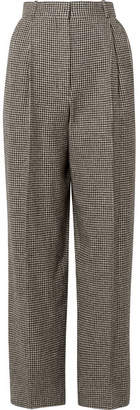 The Row Nica Houndstooth Camel Hair Straight-leg Pants - Black