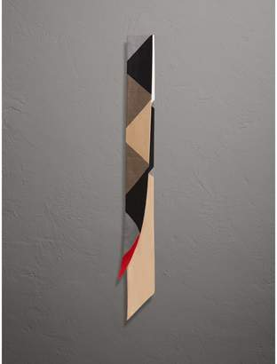 Burberry Colour Block and Striped Silk Slim Scarf