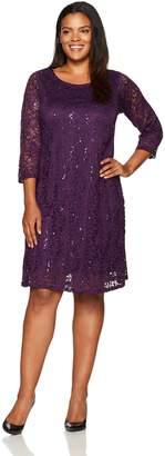 Tiana B Women's Plus Size Sequin Lace A Line Trapeze Dress