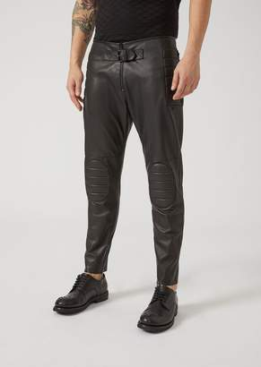 Emporio Armani One-Touch Nappa Leather Biker Trousers With Padding