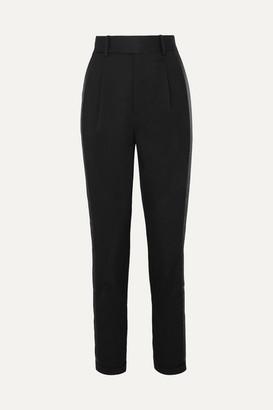 Saint Laurent Striped Wool-twill Slim-leg Pants - Black