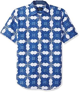 Bugatchi Men's Shaped Fit Short Sleeve Paisley Point Collar Shirt