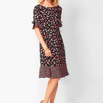 Talbots Floral Jewel-Neck Shift Dress