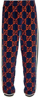 Gucci Logo Print Devore Velvet Track Pants - Mens - Navy