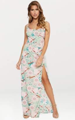 PrettyLittleThing Sage Green Floral Print Extreme Split Cowl Neck Maxi Dress