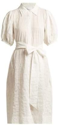 Lisa Marie Fernandez Puff Sleeved Cotton Blend Seersucker Shirtdress - Womens - White Stripe
