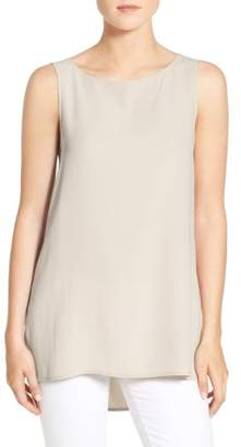 Eileen Fisher Long Bateau Neck Silk Shell
