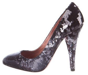 Miu Miu Miu Miu Sequined Round-Toe Pumps