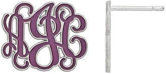 FINE JEWELRY Personalized 16mm Sterling Silver Enamel Monogram Stud Earrings