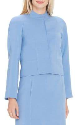 Tahari Arthur S. Levine Stand Collar Snap-Front Ponte Jacket