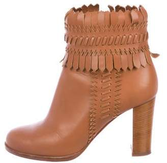 Christian Louboutin Leather Fringe Ankle Boots