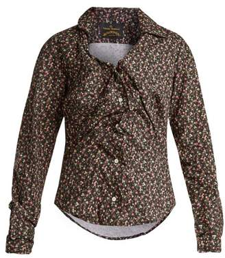 Vivienne Westwood Floral Print Twisted Front Blouse - Womens - Black